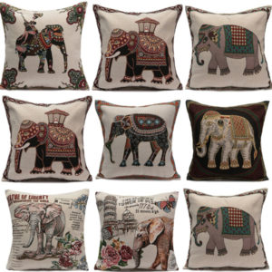 Vintage Elephant Jacquard kuddfodral Kuddfodral hem soffa bil dekor