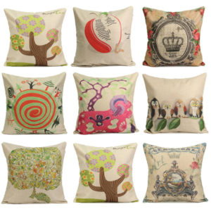 Personalized Printing Series Cotton Linen Pillow Case Home Sofa Office Square Cushion Cover