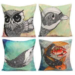 Owl Bird Fish Cotton Velvet Throw Pillow Case Back Waist Cushion Cover Home Sofa Decor