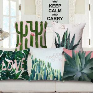 Honana WX-D4 45x45cm Vintage Tropical Plants Cotton Linen Throw Pillow Case Waist Cushion Cover