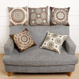 45x45cm Vintage blomma bomullslinne kuddfodral midjekudde påsar hem soffa bil dekor