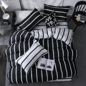 3/4 st svart och vitt randigt sängkläder set täcke