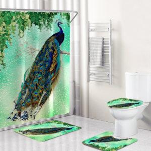 4Pcs Peacock Print Shower Curtain Floor Mat Bathroom Mat Bath Creat Decor