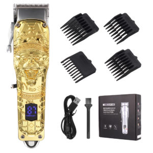 0.1-3mm 4 Gear Electric Hair Clipper Men All-metal Rechargeable Hair Trimmer Shaver Barber W/ 4pcs Limit Combs