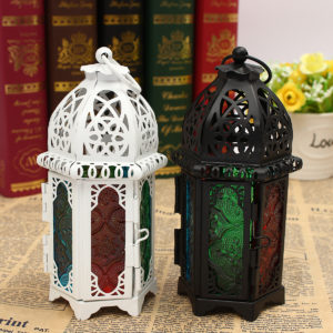 Vintage Moroccan Hollow Iron Lantern Tea Light Hanging Candle Holder Candlestick