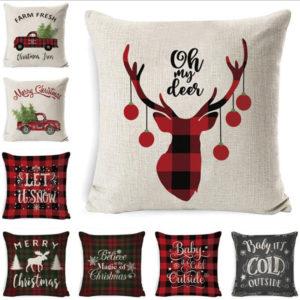 45 x 45 cm Christmas Cushion Cover Pillowcase Sofa Cushions Pillow Cases Cotton Linen Pillow Covers Home Decor