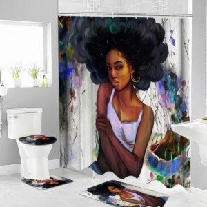African Girl Shower Curtain Fabric Bathroom Curtains Set Non-slip Bath Mat Toilet Pad Carpet for Bathroom Decor