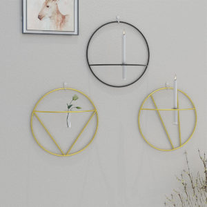 Nordic Style 3D Geometric Candlestick Metal Wall Candle Holder Home Crafts