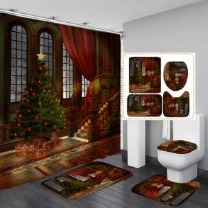 3D Bathroom Sets Christmas Trees Fireplace Shower Curtain Bath Mats Toilet Rugs Anti-Slip Carpet Festival Decor