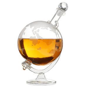 1L Whiskey World Globe Glass Crystal Decanter Liquor Spirits Bottles Gift