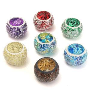 Glas Mousserande Mosaik Kristallljushållare Romantisk ljusbehållare Alla hjärtans dagspresent