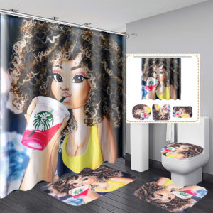 4Pcs Bathroom Shower Curtain Set Waterproof Toilet Lid Mat for Home