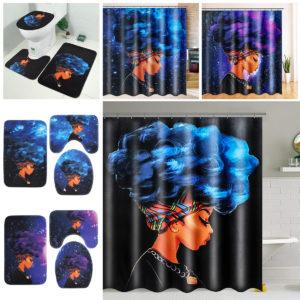 African Female Waterproof Shower Curtain Anti-rust Non-slip Polyester Bath Mat Set