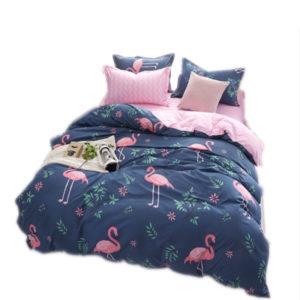4PCS Sängkläder Polyester Print Sängkläder Set Quilt Påslakan Örngott Dekor