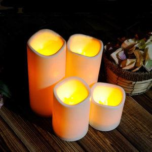 Cylindrisk flimrande LED Candle Light Flameless Garden Yard jullampa dekoration