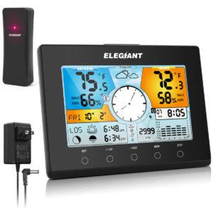 ELEGIANT EOX-9938 US F Digital inomhus utomhustermometer Hygrometer Monitor Sensor Automatisk tid LCD-färgskärm Väderprognos Snooze 4-nivå bakgrundsbelysning väckarklocka