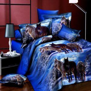 4st Kostym 3D Snowfield Wolf Reactive Färgning Polyester Fiber Sängkläder Set Queen Size