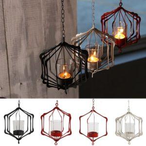 Glasjärn Hängande glasjärnkonst Lantern Tea Light Ljushållare Trädgårdsdekorationer