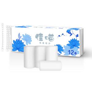 12 rullar 4-lags toalettpapper Hushållsmjukt trämassarulle Pappershanddukar Tissue