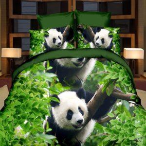 3D Panda Single Double Size Quilt Cover Kuddfodral Sängkläder Tryckt påslakan