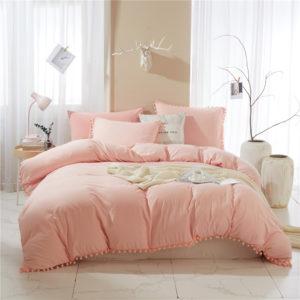 Bedding Pom Pom Duvet Cover Set Ball Fringe Home Textile Solid Color Bedding Sets Soft Microfiber Comforter Cover