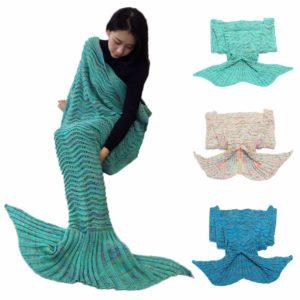 180cm Super Soft Crocheted Mermaid Tail Blanket Knitting kids&Adult Sofa Sleeping Bag