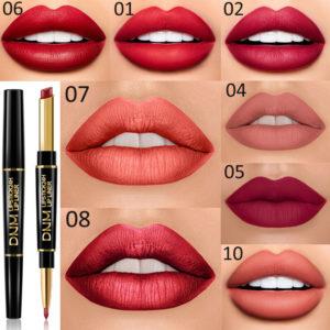 Matt dubbelhuvud Non-stick Cup Lipstick Lip Liner