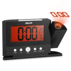 Baldr Digital väckarklocka 180 graders rotationstid Projektion Snooze Funktion Temperaturvisning