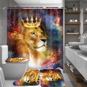 180cmx180cm Crown Lion Shower Curtain Set Waterproof Shower Mat Set