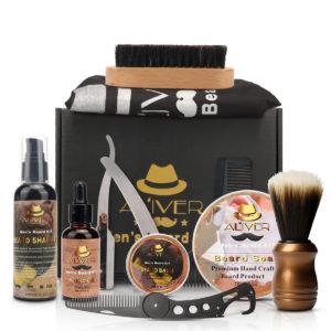 11 in 1 Beard Grooming Kit for Men Brush Comb Balm Shampoo Balm Förkläde rakhyvel