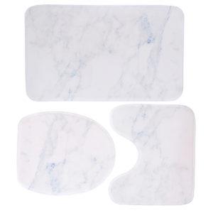 3PCS Marble Toilet Floor Door Bathroom Carpet Pedestal Rug Lid Cover Bath