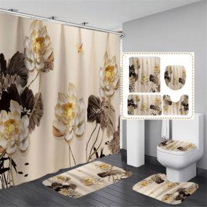 Printing Plum Blossom Shower Curtain Set Vattentät Luktfri halkskyddande badmatta
