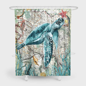 180 x 180cm Turtles/ Whale Printed Pattern Shower Curtain Waterproof Bathroom Decorative Curtains with 12 Hooks