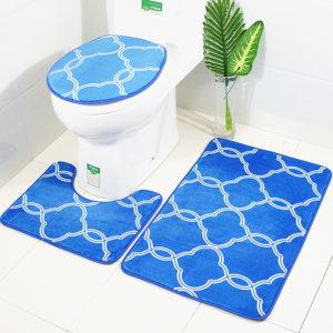 3pcs Lantern Pattern Bathroom Mat Set Antiskid Washroom Carpet Contour Mat Toilet Seat Lid Cover
