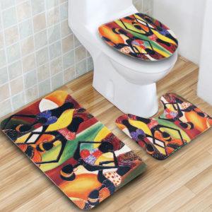 3PCS African Girls Non-slip Bathroom Pedestal Rug Lid Toilet Cover Floor Mat Velvet Breathable Bath Mat Set