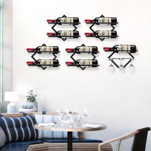 Metalljärn Vägghängande flaskhylla Kreativ fri kombination Dryck Rack Bar Vägghängande dekoration