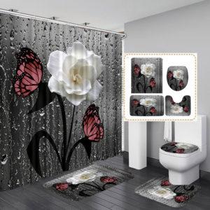 Butterfly Flower Shower Curtain Set Waterproof Polyester Bathroom Mat Set
