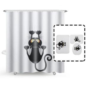 Katt Vattentät Polyester Duschdraperi Badrum Badmattor Toalettmattor Täckmatta