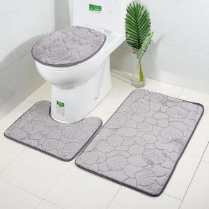 3pcs Embossing Bath Mat for Bathroom Memory Foam Bathroom Carpet Mat Toilet Mat Bathroom Floor Rug