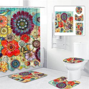 180cmx180cm Colorful Flowers Shower Curtain Set Durable Waterproof Shower Mat Set
