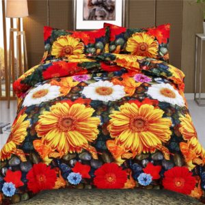 Chrysanthemum Bedding Set Pillowcase Duvet Cover Simple Beautiful 3D Duvet Cover for Comfortable Bed Set