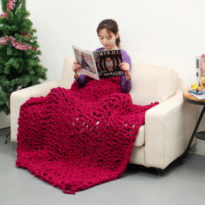 100x150cm handgjord stickad filt bomull mjuk tvättbar luddfri filt