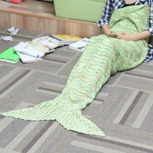 180*90CM Wave Yarn Knitting Mermaid Tail Blanket Birthday gift Blanket Bed Mat Sleep Bag