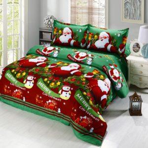 Christmas Santa Duvet Cover Bedding Set Pillowcase Sheet Quilt Covers Bedclothes for Bedroom Decor