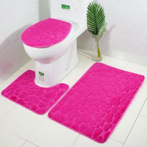 3st 3D Badrumsmattor Toalettinredning Badmatta Massivblomma Halkskyddsmatta Vattenabsorberande fotmattor