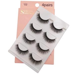 4 Pairs Of Handmade Mink Hair False Eyelashes Slender Long Three-Dimensional Multi-layer Eyelashes