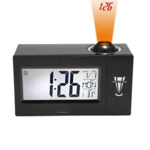 """Digital klocka Binwo Sängtidsprojektion väckarklocka med 4 """"STOR LED -display för dagdatum Temperatur Luftfuktighet Hög väckarklocka med smart bakgrundsbelysning"""