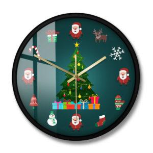 2020 juldekorativ väggklocka Tyst icke-tickande kvarts julgran väggklocka nyår inredning
