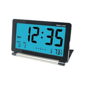 DC-12 Travel Alarm Clock LCD Mini Digital Desk Folding Electronic Alarm With Backlight
