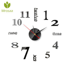 3D Acrylic DIY Large Wall Clock Mirror Surface Sticker 5 Color Home Office Decor